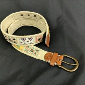 Fossil canvas belt boho hippie